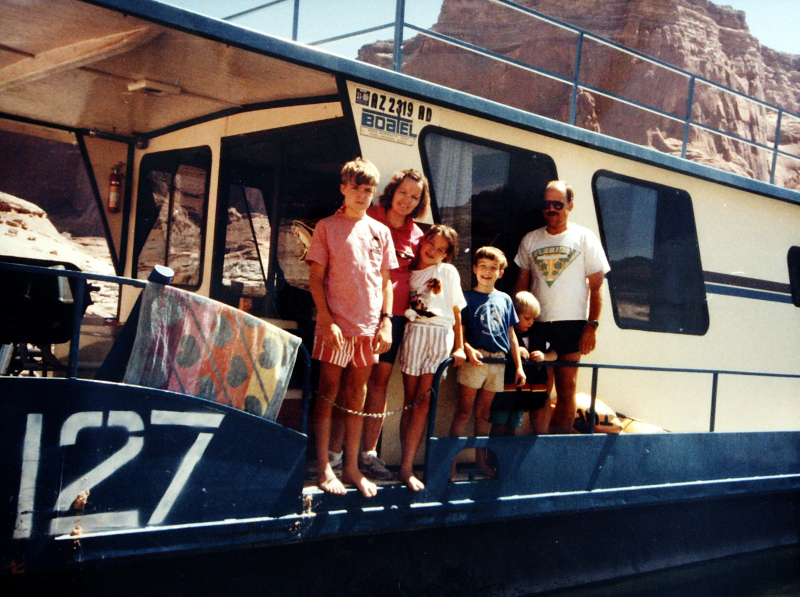 Tom (farthest left) with his family on the Lake Powell trip where this song idea came to him.